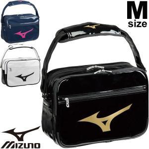 エナメルバッグ ショルダーバッグ Mサイズ Mizuno ミズノ スポーツバッグ 20L メンズ レディース ジュニア 学生 ビッグロゴ ななめ掛け 肩掛け ジム/33JS8213|w-w-m