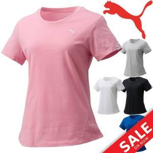 半袖Tシャツ レディース プーマ PUMA ランニング ジョギング フィットネス ドライセル Drycell シンプル ワンポイント 無地 女性 婦人 トップス /593205|w-w-m