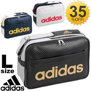 エナメルバッグ アディダス adidas Lサイズ スポーツバッグ 23L ロゴ ショルダーバッグ 肩掛け 斜めがけ 通学 部活 ジム ラバーエナメル リニア かばん /BIP44|w-w-m