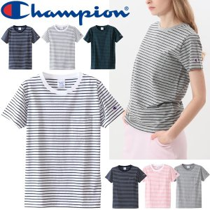 Tシャツ 半袖 レディース /チャンピオン Champion ポケットTシャツ ボーダー BASIC コットンTEE シンプル 女性 スポーティ カジュアル カットソー /CW-M324|w-w-m