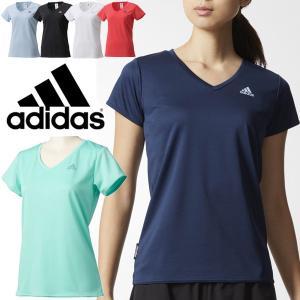 Tシャツ レディース アディダス adidas D2M 定番 ワンポイント ロゴ トレーニング 半袖シャツ ジム フィットネス オールスポーツ ウェア 女性 UV対策 無地/DML58|w-w-m