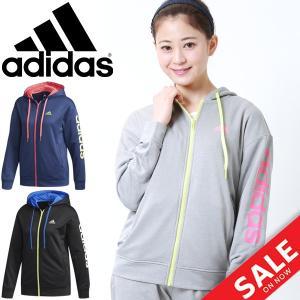 スウェット パーカー レディース/アディダス adidas W TEAM リニア/フルジップ フード付ジャケット/EUA36|w-w-m