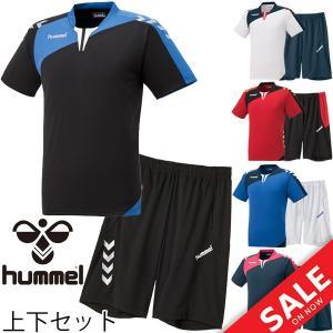 半袖シャツ ハーフパンツ 上下セット メンズ ヒュンメル hummel プラクティスシャツ ストレッチニットパンツ 2点セット サッカー スポーツウェア/HAP1130SP|w-w-m