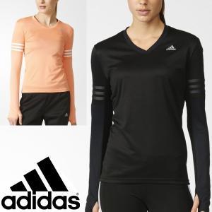 アディダス adidas レディース 長袖Tシャツ 女性 ランニング マラソン スポーツ トレーニング ジム Vネック ウェア/KAV85|w-w-m