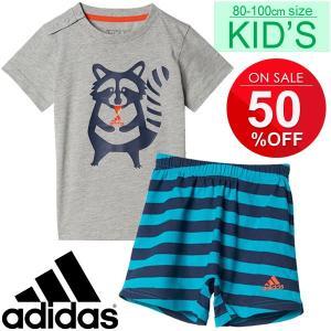 ベビー Tシャツ パンツ 上下セット キッズ 子供服 男の子 女の子/アディダス adidas あらいぐま アニマル 80cm 90cm 100cm ベビー服 インファント/MLS10|w-w-m