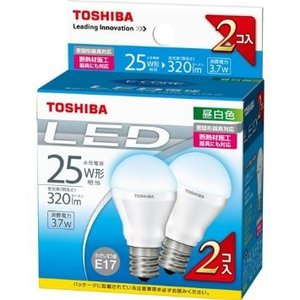 LED電球 E17 昼白色 東芝  2個入り 25W相当 LDA4N-H-E17/S-2P 小形電球形 セール|w-yutori