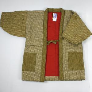 M-Lサイズ 久留米手作りはんてん 袖あり半纏【刺し子生地・からし色】No7820 wa-raku