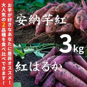 紅はるか&安納芋 紅 3kg蜜芋セット(土付き)【紅...
