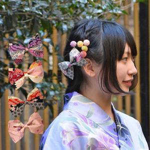 和柄のリボンバレッタ 髪飾り ヘアアクセサリー 帯飾り バッグ ストール 使い方いろいろ 浴衣 着物 レトロ プチプラ 安い|waaraiya