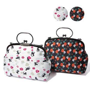 がま口バッグ クラッチバッグ ハンドバッグ ショルダーバッグ 使い方いろいろ 3way 猫 椿 帯地|waaraiya