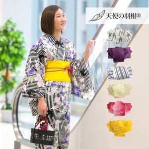 レディース浴衣 3点セット しっとり 華やか 綿紅梅 セパレート浴衣 ワンタッチ帯 帯板 白地縞つばめと紫ゆり柄 黄桐麻帯 18125WH|waaraiya