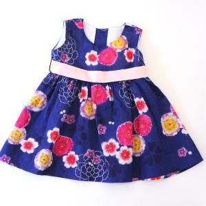 こども 浴衣 ワンピース 女の子 花柄 2way リボン付き 紺 80cm 90cm 100cm 110cm|waaraiya|02