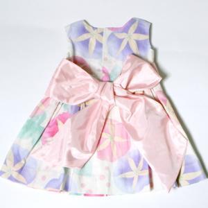 こども 浴衣 ワンピース 女の子 花柄 2way リボン付き 紺 80cm 90cm 100cm 110cm|waaraiya|13