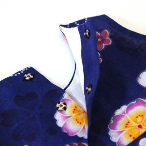 こども 浴衣 ワンピース 女の子 花柄 2way リボン付き 紺 80cm 90cm 100cm 110cm|waaraiya|04