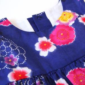 こども 浴衣 ワンピース 女の子 花柄 2way リボン付き 紺 80cm 90cm 100cm 110cm|waaraiya|05