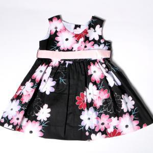 こども 浴衣 ワンピース 女の子 花柄 2way リボン付き 紺 80cm 90cm 100cm 110cm|waaraiya|06