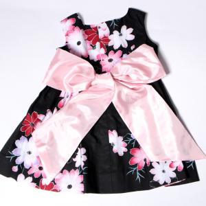 こども 浴衣 ワンピース 女の子 花柄 2way リボン付き 紺 80cm 90cm 100cm 110cm|waaraiya|07