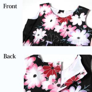 こども 浴衣 ワンピース 女の子 花柄 2way リボン付き 紺 80cm 90cm 100cm 110cm|waaraiya|08