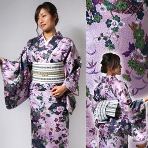 単衣 レディース 4点セット 花 上品 セパレート着物 白衿 半巾帯 花扇浅紫に深緑 博多ロマン帯 UH-A1311|waaraiya