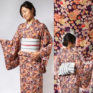 単衣 レディース 4点セット 花 上品 セパレート着物 白衿 半巾帯 紫地小花 博多ロマン帯 UH-P1502|waaraiya