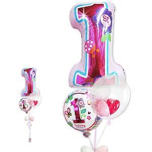 数字の1 1歳 バースデー お祝い バルーンギフト 女の子 1才誕生日ファーストシェイプスウィーツ&インプチ3バルーンセット|wac-up