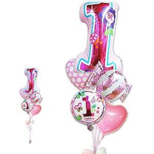 数字の1 1才 誕生日 バルーンギフト 女の子 1歳誕生日ファーストシェイプスウィート5バルーンセット|wac-up