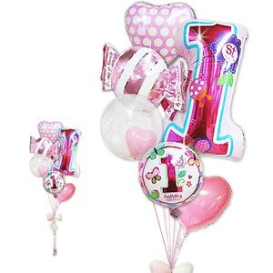 数字の1 1才 誕生日 バルーンギフト 女の子 1才誕生日ファーストシェイプスウィート6バルーンセット|wac-up