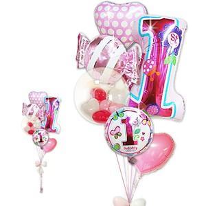 女の子 1才誕生日ファーストシェイプスウィート&ガラガラ6バルーンセット|wac-up
