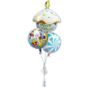 1歳 バースデー お祝い バルーンギフト 男の子 1歳誕生日ハグボーイ カップケーキ3バルーンセット|wac-up