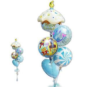 1歳 バースデー お祝い バルーンギフト 男の子 1歳誕生日ハグボーイ カップケーキ5バルーンセット|wac-up