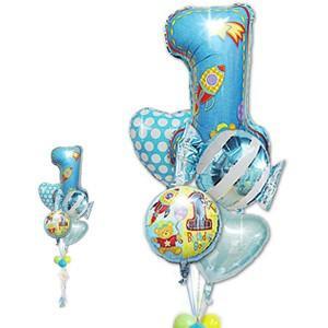 数字の1 1才 誕生日 バルーンギフト 男の子 1歳誕生日ファーストシェイプ&キャンディ5バルーンセット|wac-up