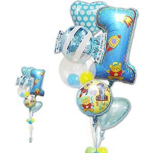 バルーン 1才誕生日プレゼント 男の子 男の子 1歳誕生日ファーストシェイプ&キャンディ6バルーンセット|wac-up