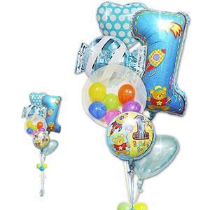 バルーン 1歳 誕生会 飾り付け 男の子 1才誕生日ファーストシェイプ&キャンディ ガラガラ6バルーンセット|wac-up
