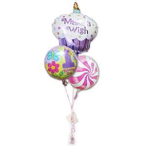 1歳 バースデー お祝い バルーンギフト 女の子 1歳誕生日ハグガール カップケーキ3バルーンセット|wac-up