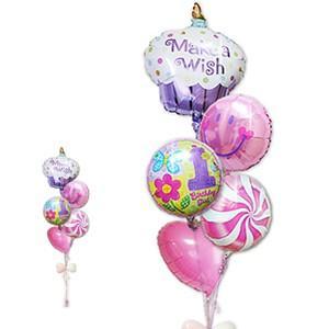 1歳 バースデー お祝い バルーンギフト 女の子 1歳誕生日ハグガール カップケーキ5バルーンセット|wac-up