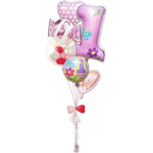 女の子 1才誕生日ファーストシェイプ&キャンディ ガラガラ6バルーンセット|wac-up