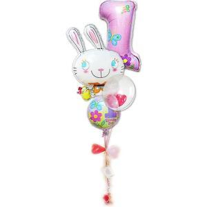 1才 誕生日プレゼント バルーンギフト 女の子 1歳誕生日ファーストシェイプ&めぐバニー 4バルーンセット|wac-up