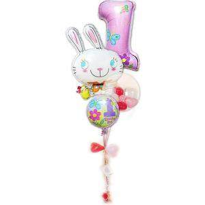 1歳誕生会 飾り付け 誕生日プレゼント バルーン 女の子 1歳誕生日ファーストシェイプ&めぐバニー ガラガラ4バルーンセット|wac-up