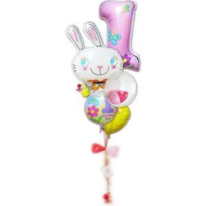 1歳 バースデーパーティー 飾り付け プレゼント 女の子 1才誕生日ファーストシェイプ&めぐバニー 5バルーンセット|wac-up