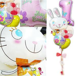 1才 女の子 誕生日プレゼント バルーン 1歳誕生日ファーストシェイプ&めぐバニー ガラガラ5バルーンセット|wac-up