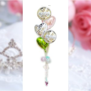 記念日 結婚記念日 プレゼント バラの花束 バルーンギフト  贈り物 記念日クラシック エレガントパステル5バルーンセット|wac-up