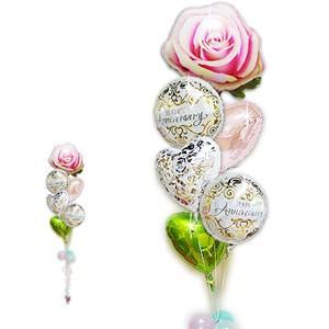 結婚記念日 バラ 創立記念 バルーンギフト   記念日クラシック&ピンクローズ6バルーンセット|wac-up