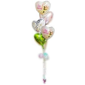 記念日 結婚記念日 プレゼント バラの花束 バルーンギフト バルーン電報 贈り物 記念日ブーケ エレガントパステル5バルーンセット|wac-up