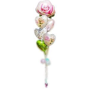 結婚記念日 花束 バラ 上品な プレゼント バルーンギフト 電報 創立記念 記念日ブーケ&ピンクローズ6バルーンセット|wac-up