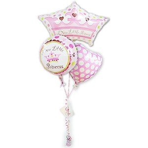プリンセスティアラでお姫様♪ ベビーバルーン 出産祝リトルプリンセス女の子クラウンシェイプ3バルーンセット wac-up