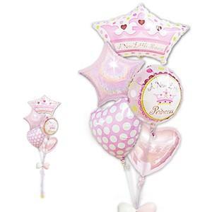 プリンセスティアラでお姫様♪ ベビーバルーン 出産祝リトルプリンセス女の子クラウンシェイプ5バルーンセット wac-up