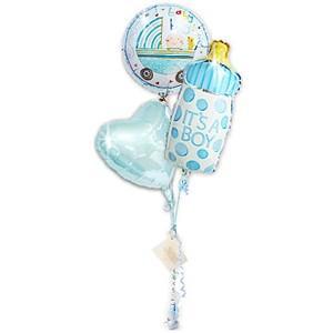 ドット柄の哺乳瓶バルーンがかわいい! 出産祝いレイチェルボーイ哺乳瓶3バルーンセット BYJSドットミルクボーイ wac-up
