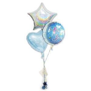 やさしいブルー系のバルーン☆ プレゼント バルーンギフト 出産祝プリズムボーイ3バルーンセット wac-up