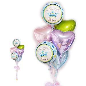 男の子の出産祝いにパステルカラー系 王子様 バルーン電報 出産祝リトルプリンス男の子パステル6バルーンセット wac-up