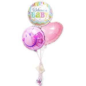 スマイルバルーンの贈り物  出産祝<女の子>ブライツウェルカム&スマイルピンク3バルーンセット wac-up